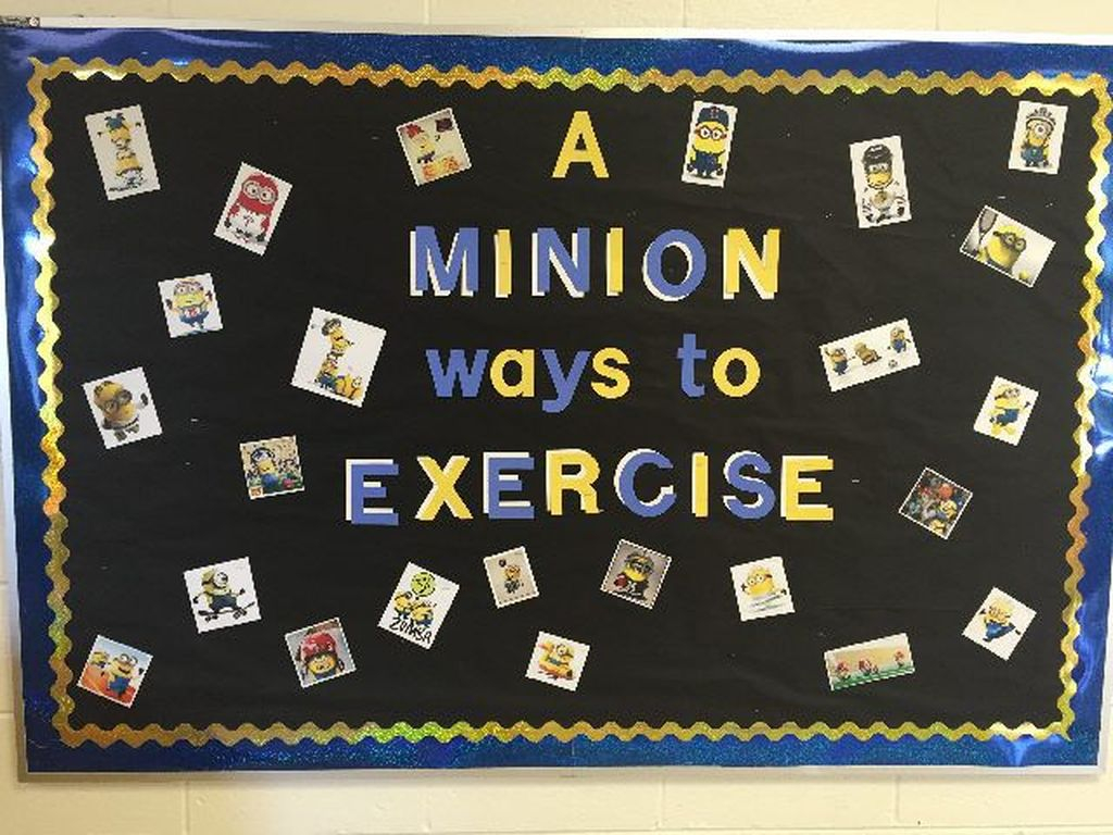 An amazing classroom board with minion design