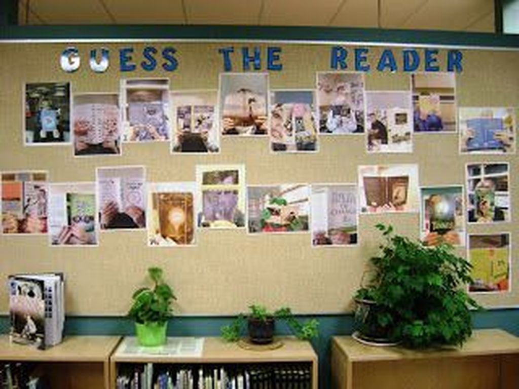 Classroom board display with photo gallery