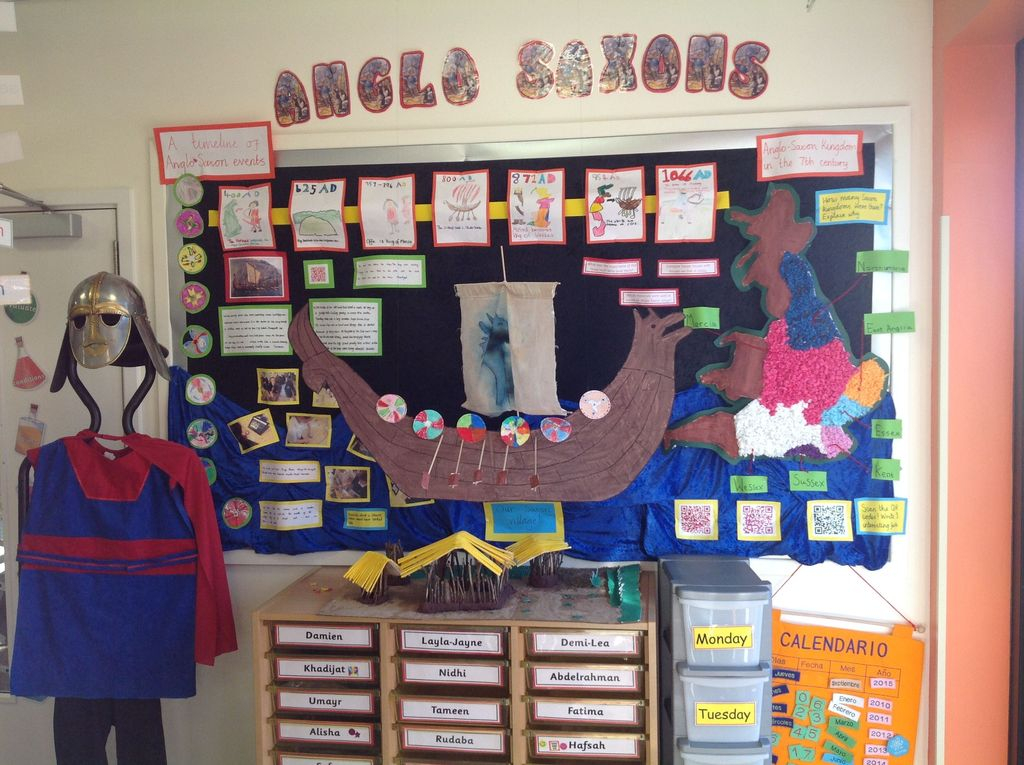 Interesting classroom board display with paper
