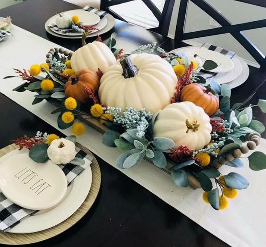 Big white and orange pumpkin for decoration dining table