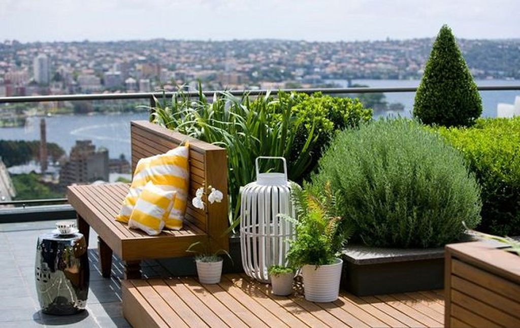 An amazing small rooftop project combined with transparent glass fences and plants around it to perfect your rooftop design