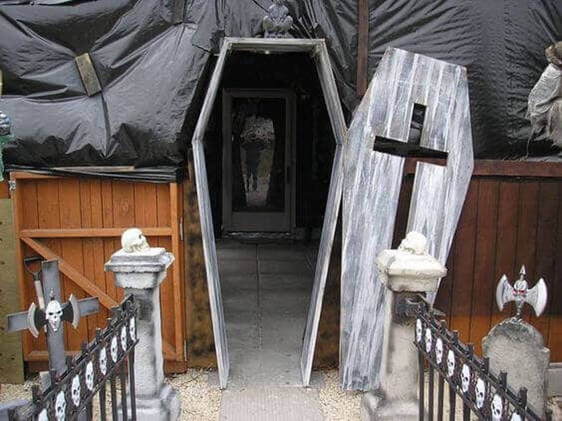 Coffin entrance halloween door.