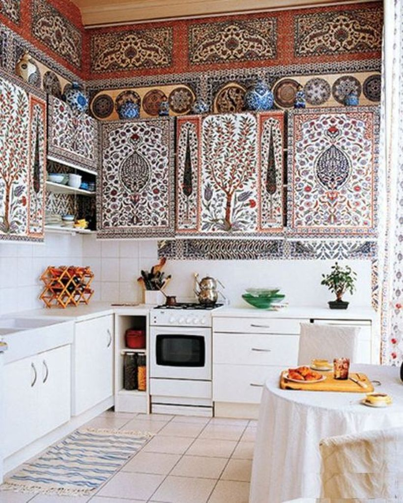 Creative boho kitchen decor with classic motif storage cabinet, patterned white carpet to make it look stunning