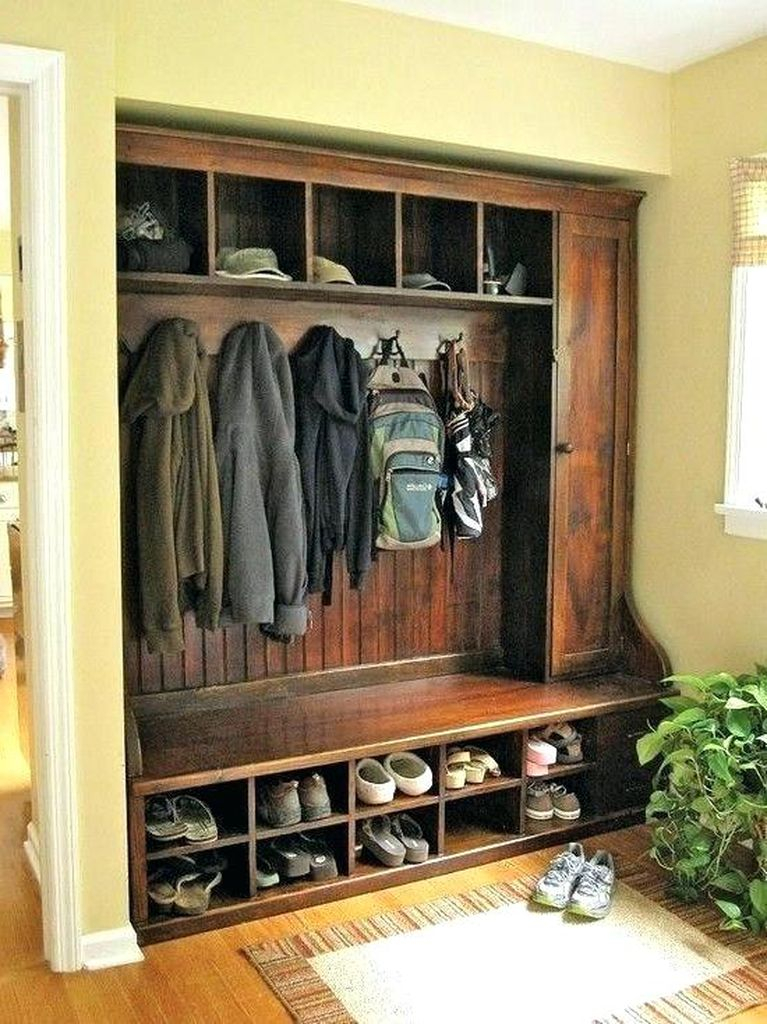 Perfect combination entryway ideas with wooden bench and coat hooks below shelf medium size to perfect your entryways decorating