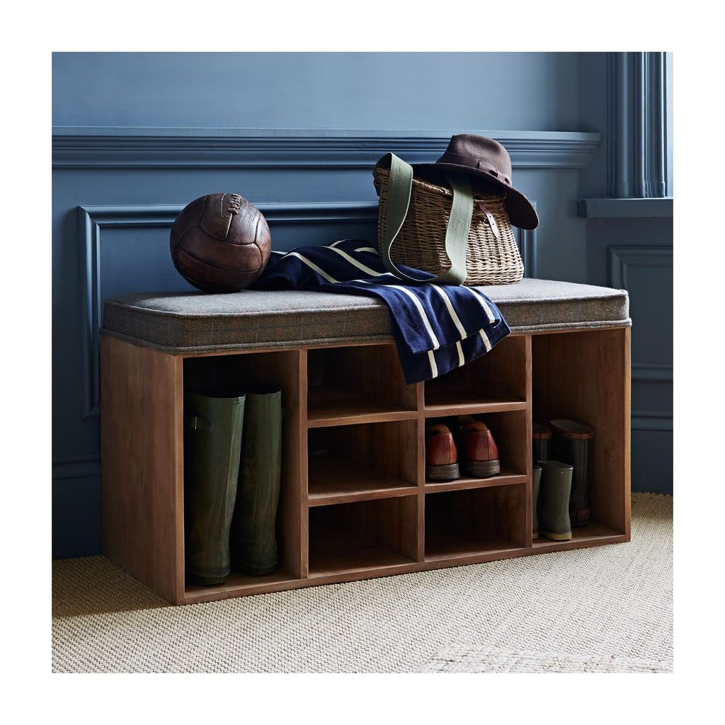 Rustic wooden storage bench with shoe shelves below it to complete your entryway decoration