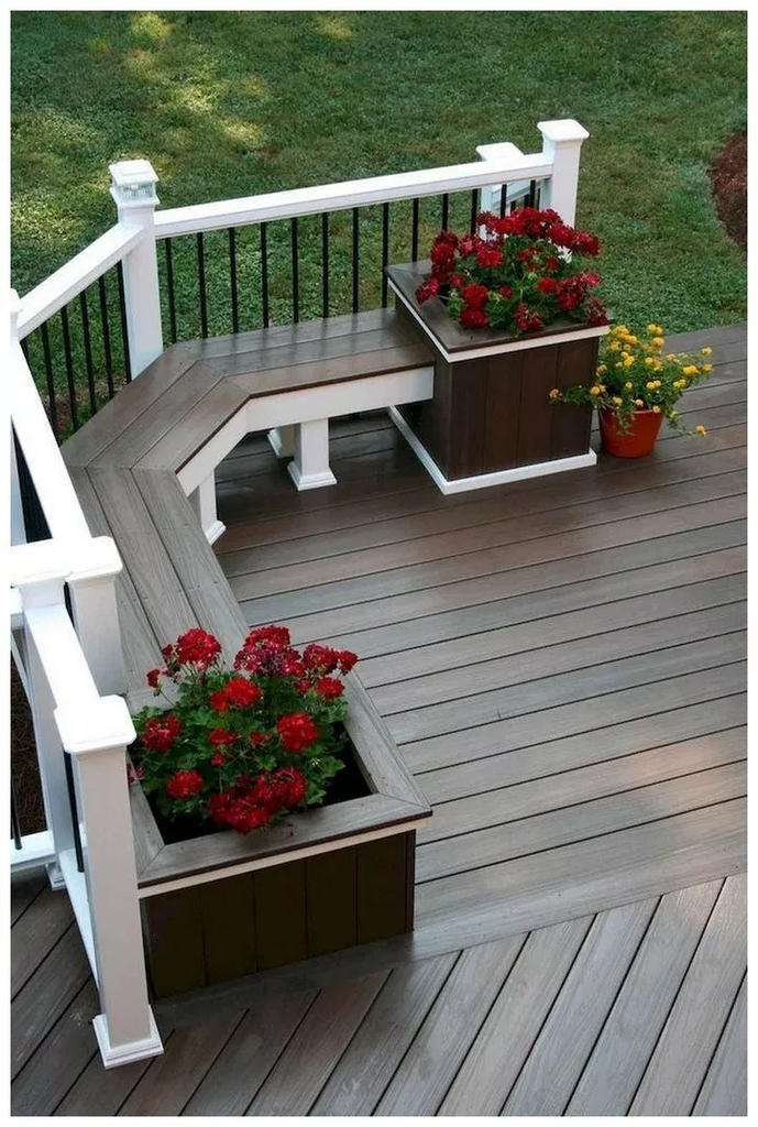 Wooden bench combined with flowers