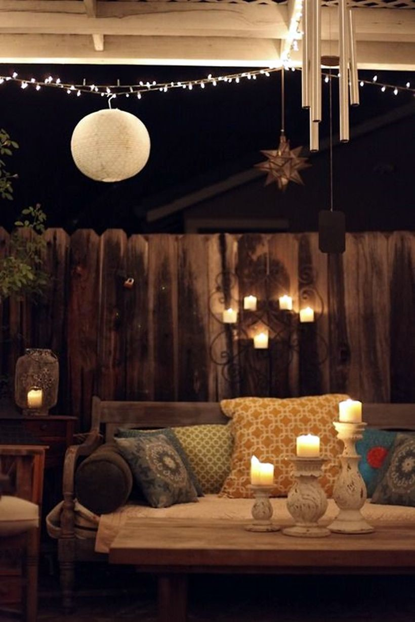 String and candle lamps decoration