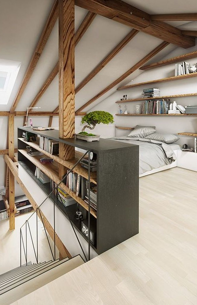 Grey loft bedroom with shelves on the wall