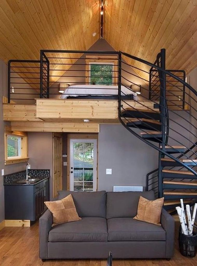 Spiral stairs for small loft bedroom