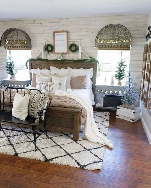 Wooden-furniture-a-vintage-bench-a-rustic-wooden-bed.-1