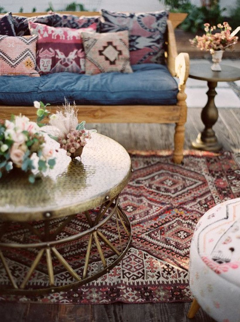 Awesome-bohemian-living-room-design-with-unique-round-coffee-tables-rug-and-sofa-cushion-unique-patterns-to-decorate-your-living-room
