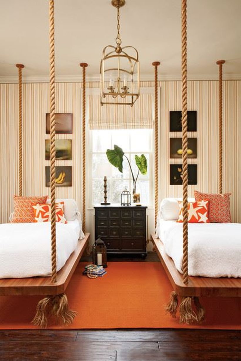 Unique-hanging-bed-from-strong-rope-for-your-bedroom-by-adding-a-pillowcase-with-a-bohemian-touch-to-create-to-beautify-your-room