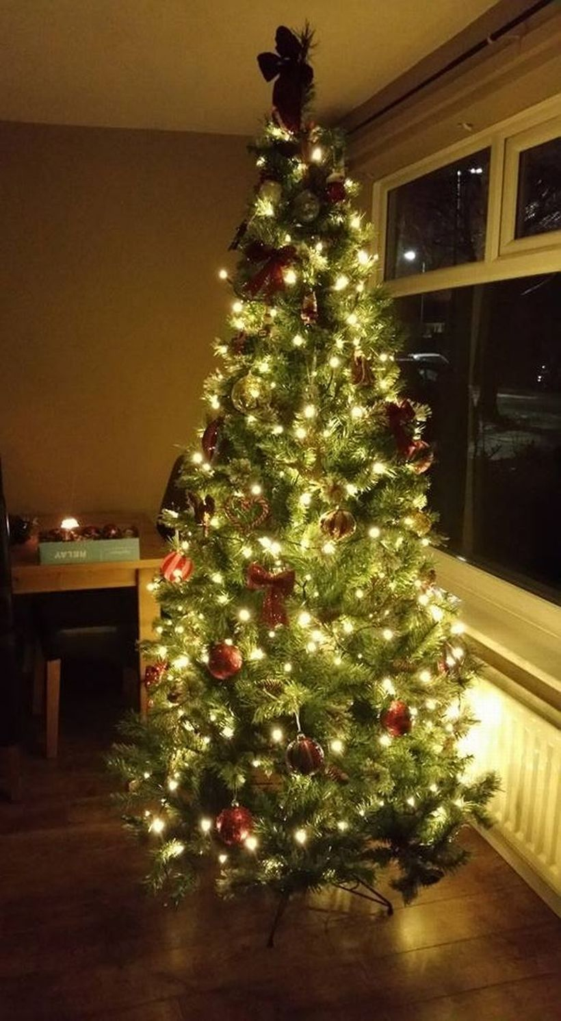Tall chrismast tree with white light and red ornament