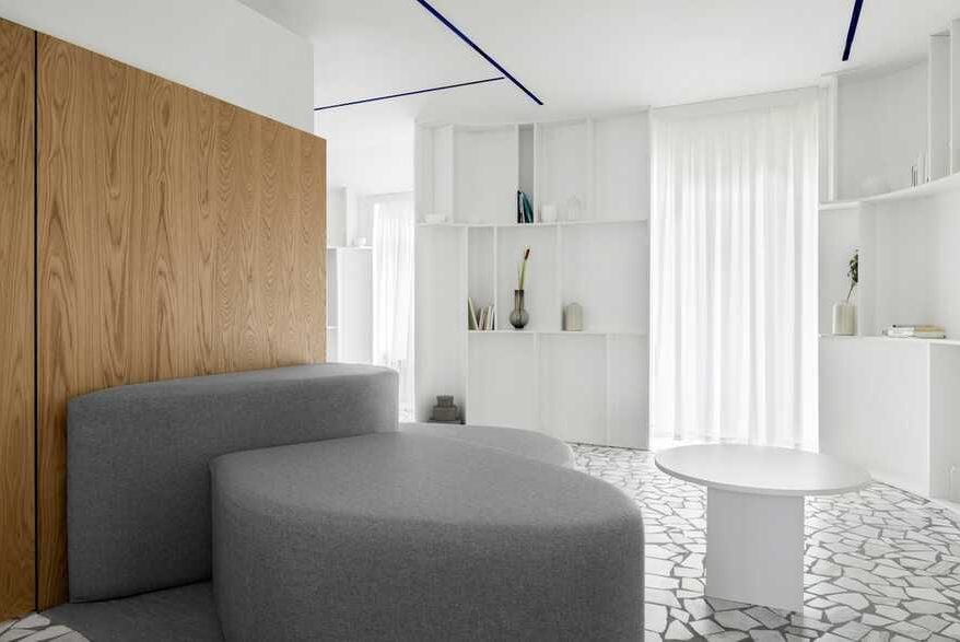 Interior design of a townhouse for a young family with two children